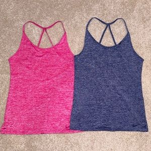 LOT OF 2 NIKE DRI FIT STRAPPY TANKS PINK BLUE S